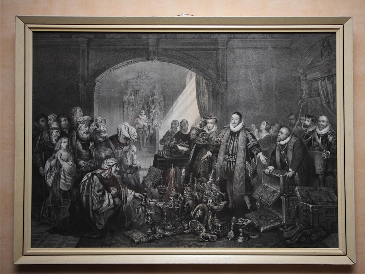 Afbeelding Prins Willem van Oranje. Zijn kostbaarheden op het altaar des Vaderlands Offerend. De afbeelding is in het jaar 1858 gemaakt door Pieter Willem Marinus Trap.